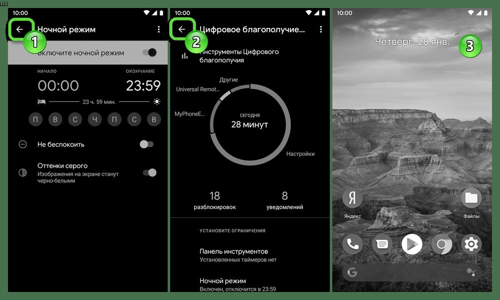 Android активация чёрно-белого режима работы экрана средствами Цифрового благополучия завершена, выход из Настроек