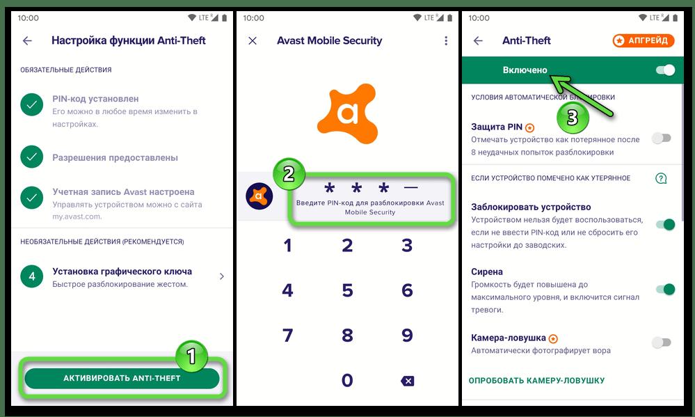 Android Avast Mobile Security активация модуля Anti-Theft после включения всех необходимых для его работы функций