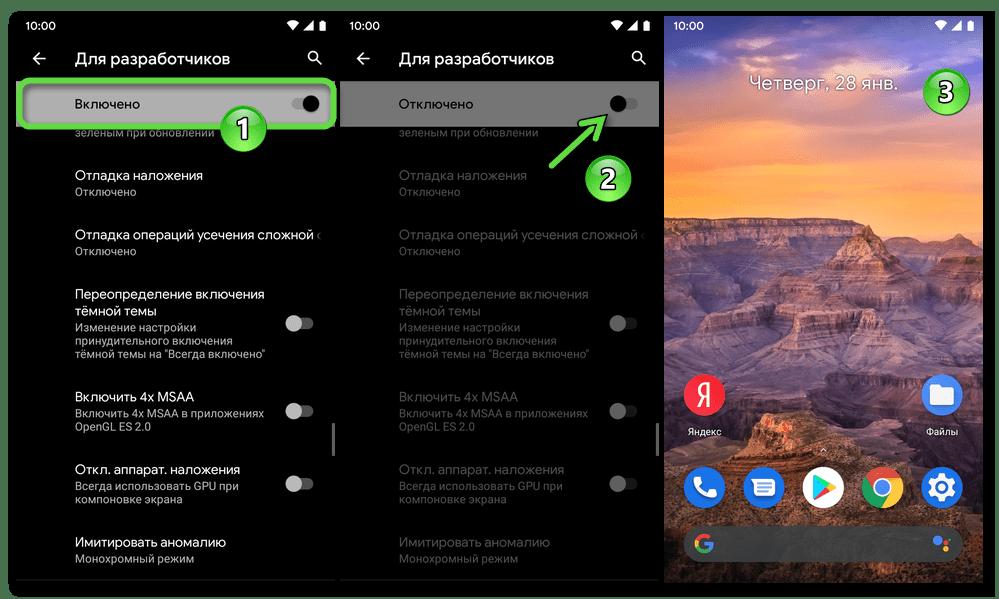 Android деактивация режима Для разработчиков на устройстве с целью прекращения действия чёрно-белого состояния экрана