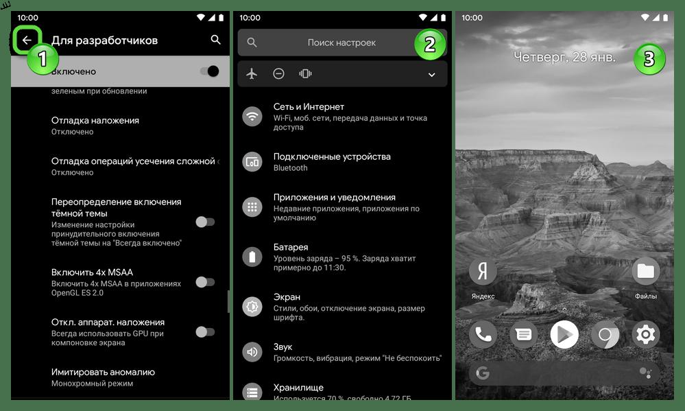 Android Экран устройства переведен в чёрно-белый режим работы с помощью средства в Настройках Для разработчиков
