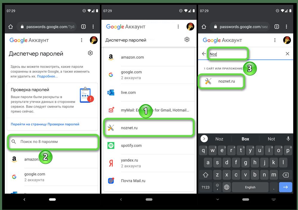 Поиск сайта для просмотра паролей на сервисе Диспетчер паролей от Google в браузере Google Chrome