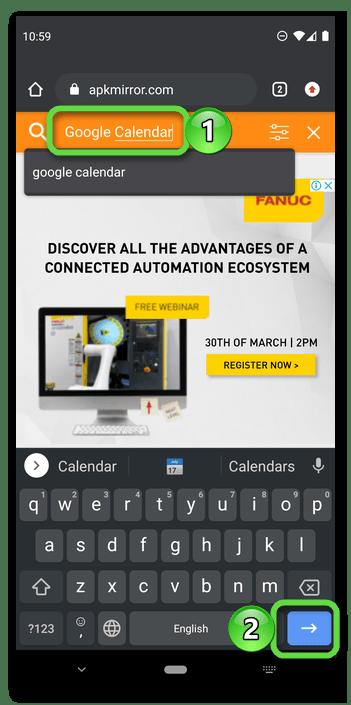Ввод запроса для поиска на сайте APKMirror для поиска APK приложения Календарь в браузере Android