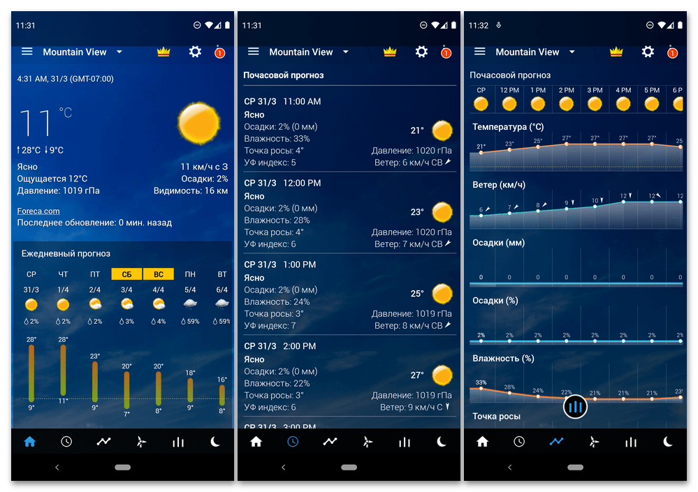Интерфейс приложения Прозрачные часы и погода для мобильных устройств с Android
