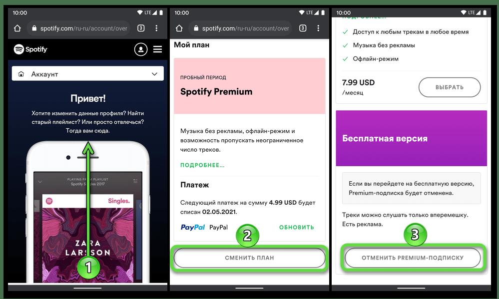 Просмотр и отмена подписки в приложении Spotify на телефоне с ОС Android