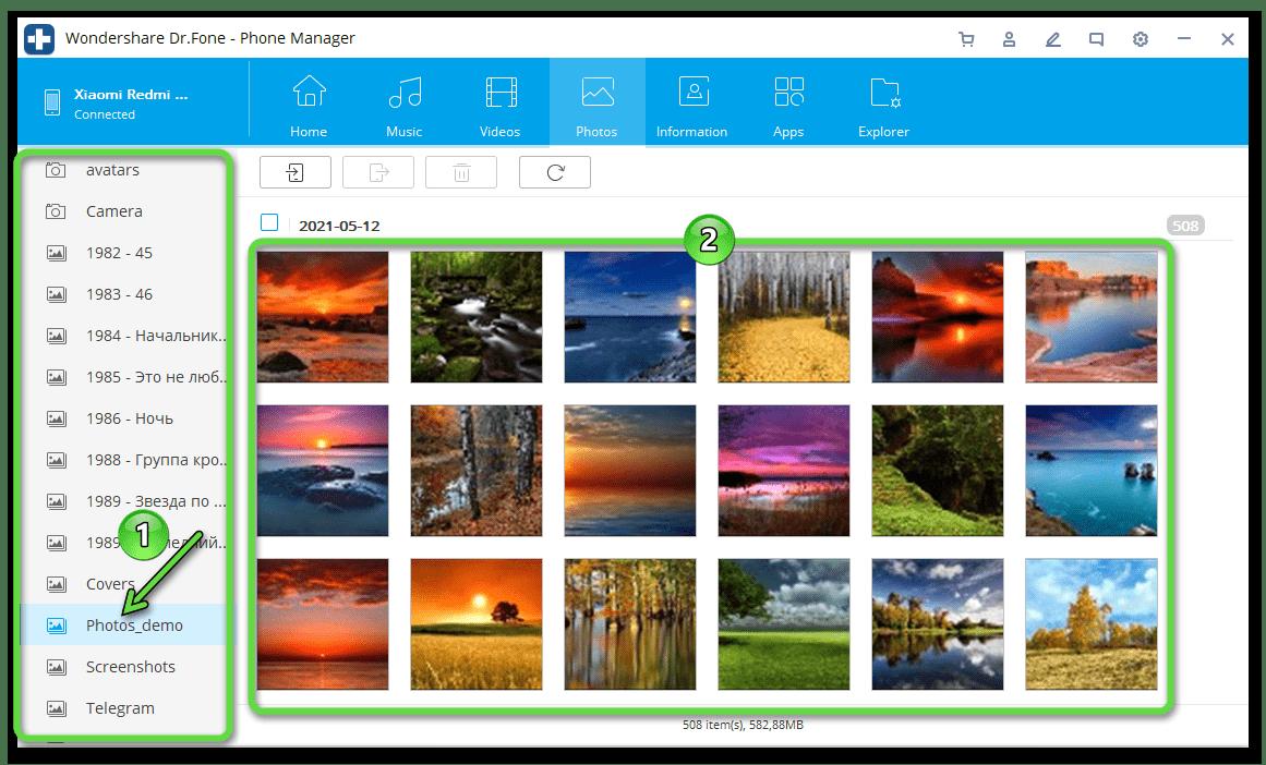 Dr.Fone Phone Manager обнаруженные программой в памяти Android-девайса фотографии