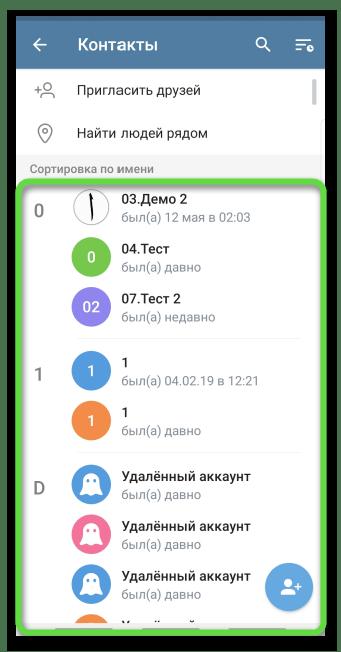 Отображение списка контактов в Telegram