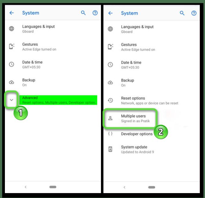 Вход в раздел нескольких пользователей на Android