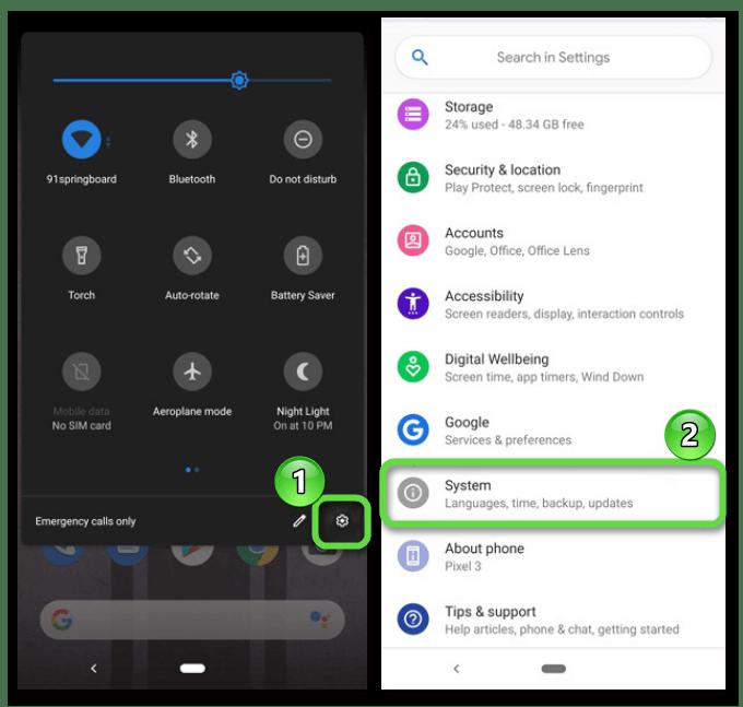 Вход в системные настройки на Android