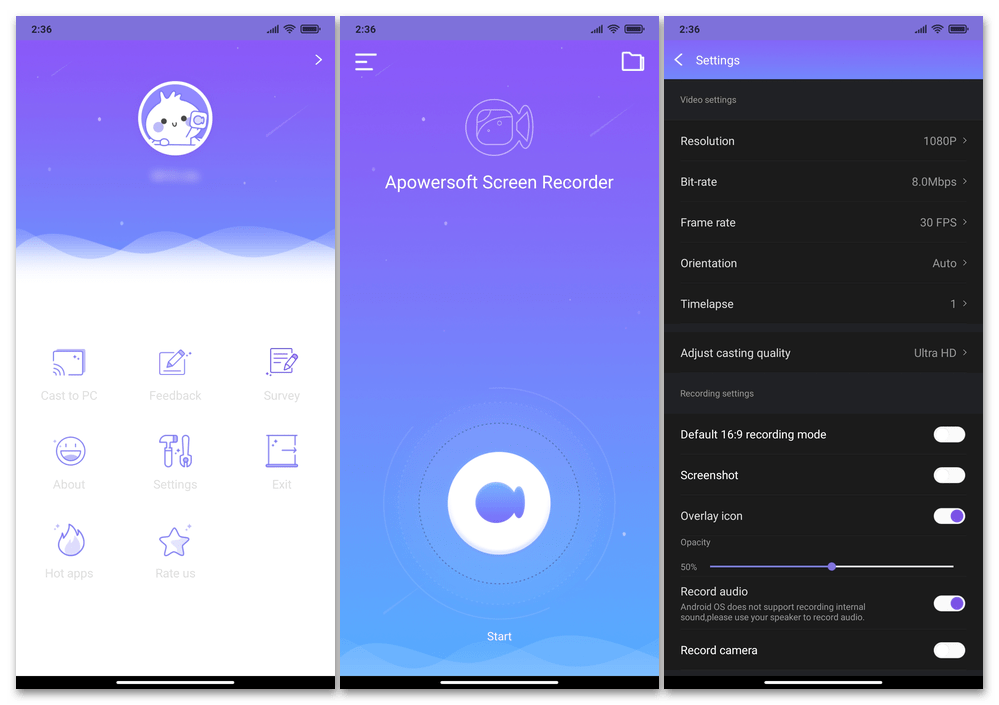 Apowersoft Screen Recorder для Android - функциональное, полностью бесплатное и без рекламы приложение для записи видео с экранов смартфонов и планшетов