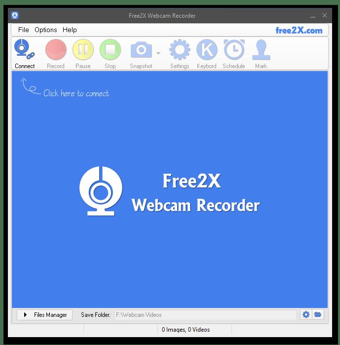 Free 2X Webcam Recorder главное окно программы для захвата и сохранения видео с веб-камеры