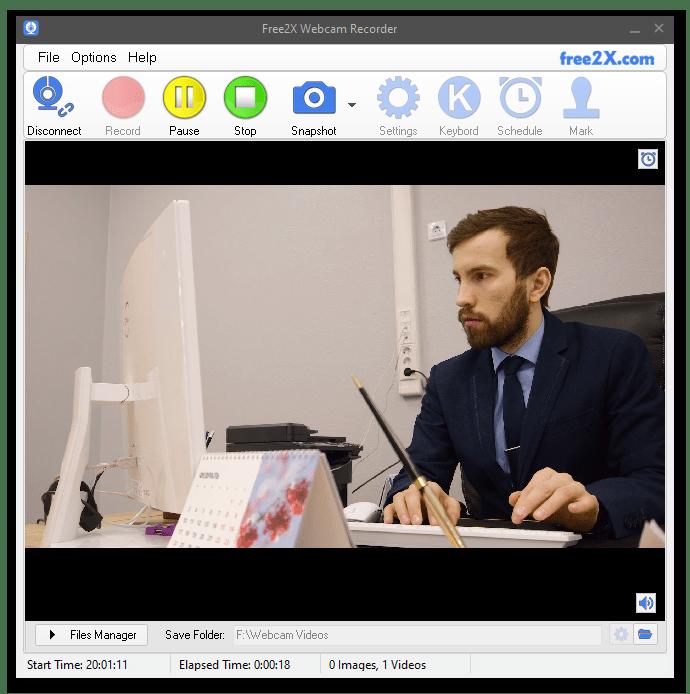 Free 2X Webcam Recorder процесс записи видео с веб-камеры с помощью программы