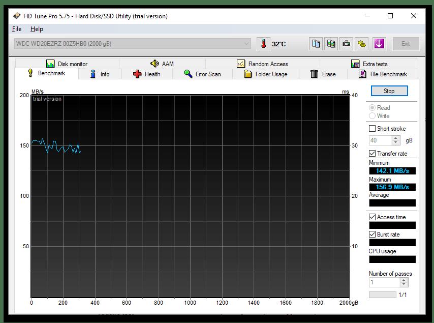 HD Tune Pro - профессиональная программа для тестирования жёстких дисков компьютера - раздел Benchmark
