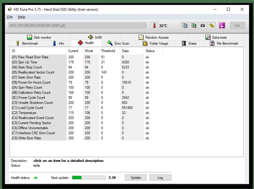 HD Tune Pro - программа для проверки и оценки состояни жёстких дисков - вкладка Health