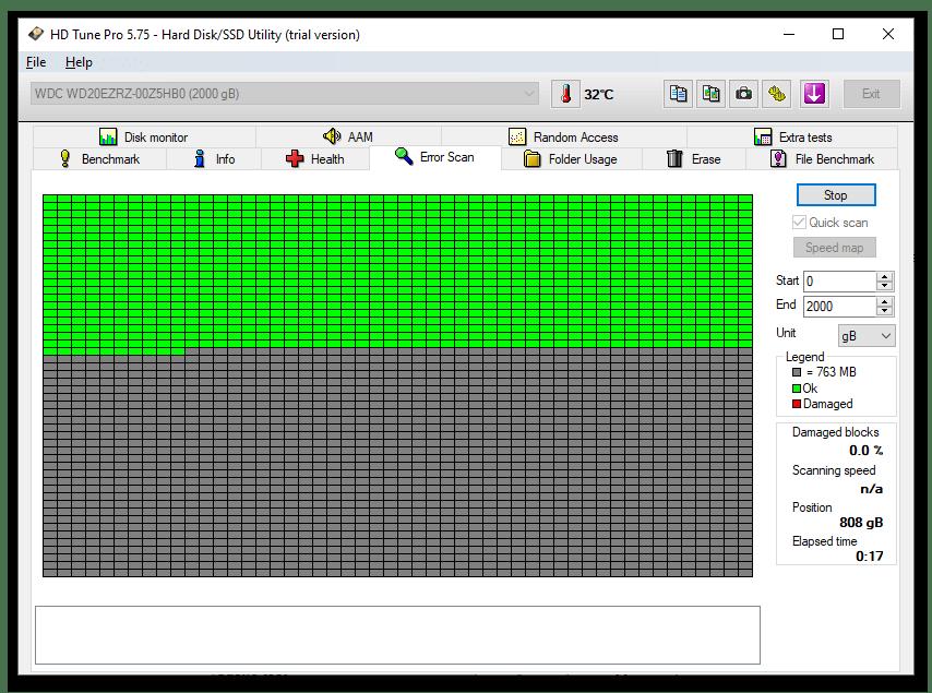 HD Tune Pro тестирование жёсткого диска на ошибки различными методами