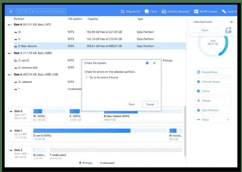 Исправление ошибок жесткого диска при помощи программы EaseUS Partition Master