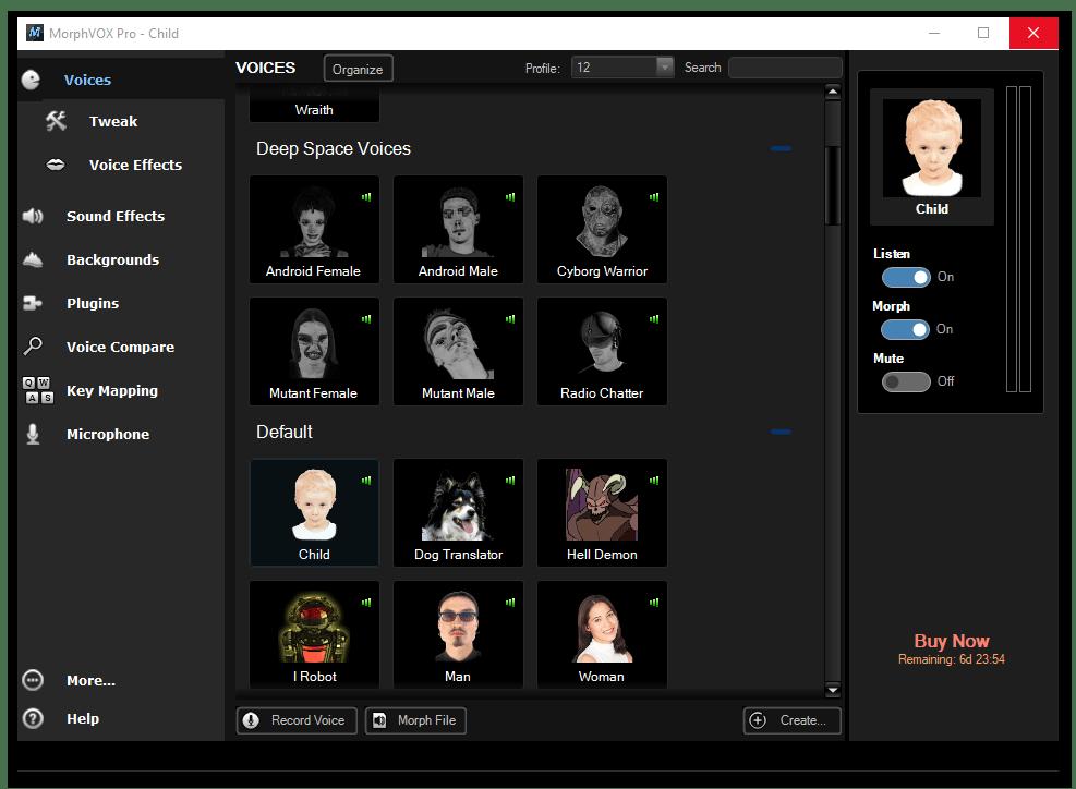 Окно с голосовыми настройками в MorphVox Pro