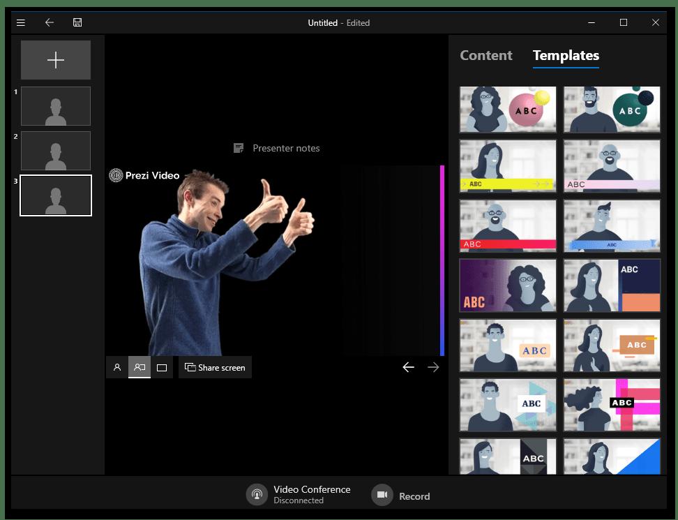 Prezi Video главное окно программы, работа с проектом