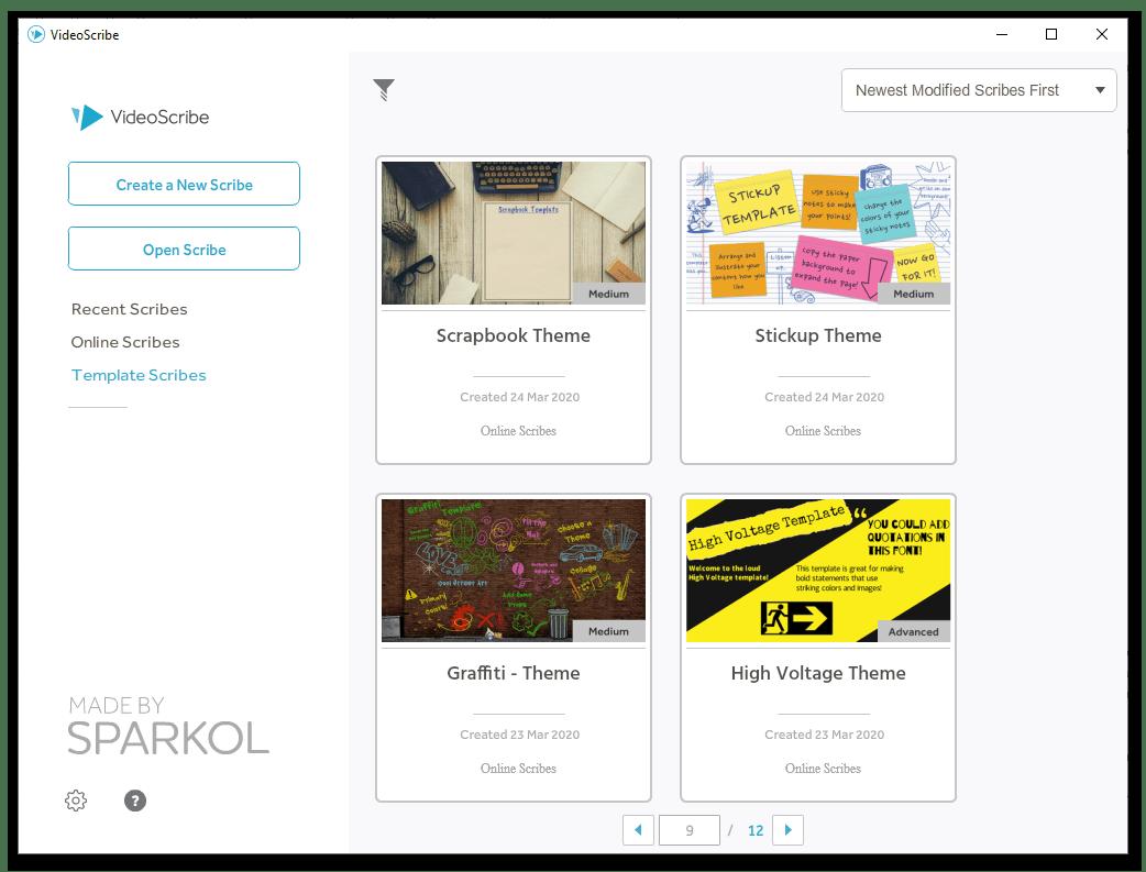 Sparkol VideoScribe начало работы с программой выбор шаблона (тематического оформления) будущей видео-презентации