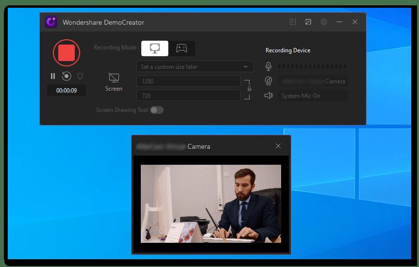 Wondershare Demo Creator процесс записи видео, которое транслирует веб-камера