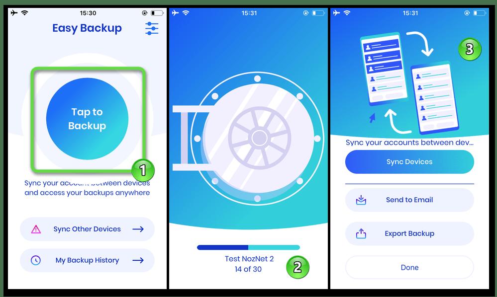 Easy Backup от Top Floor Inc для iOS процесс создания бэкапа контактов с iPhone в VCF-файл