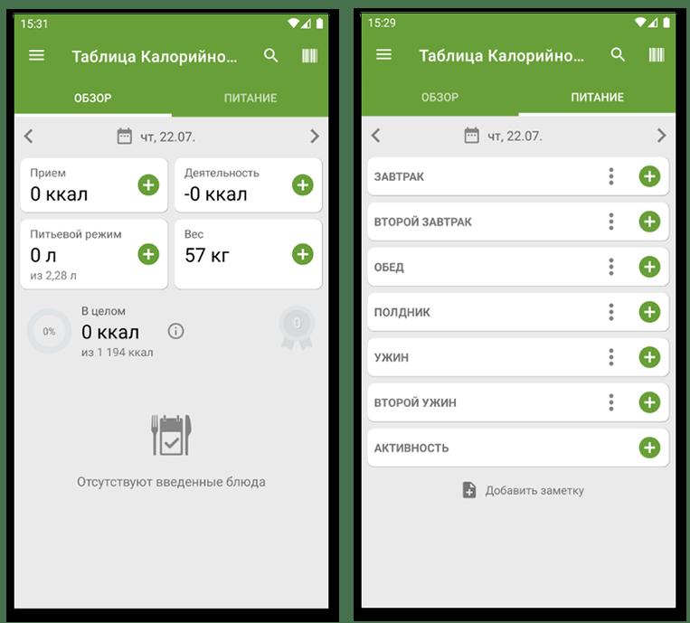 Главное меню и добавление приемов пищи в Таблице калорийности - приложении для подсчета калорий на Android