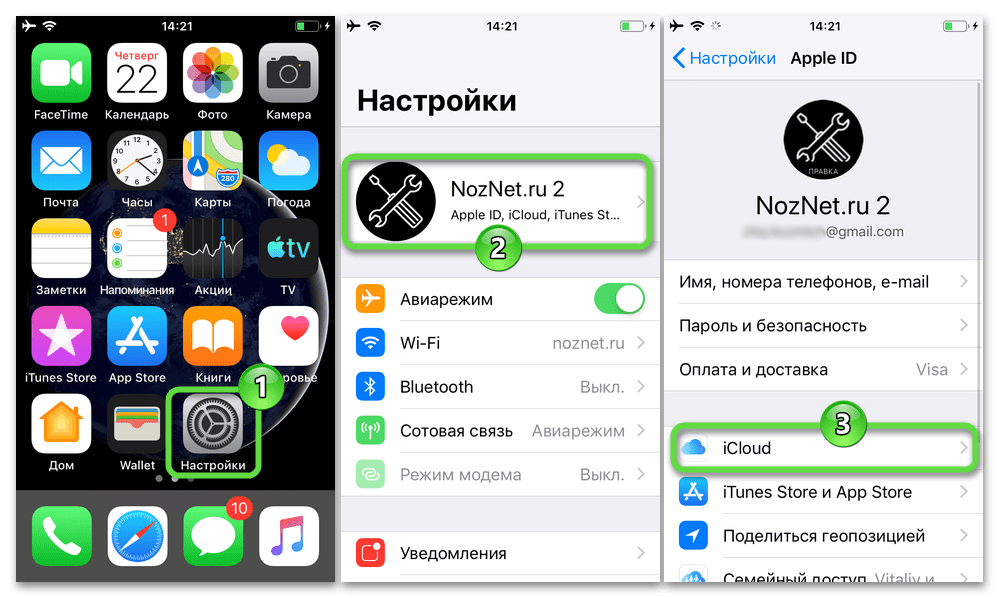 iPhone - Настройки iOS - Apple ID - iCloud для включения синхронизации контактов девайса с облачным хранилищем