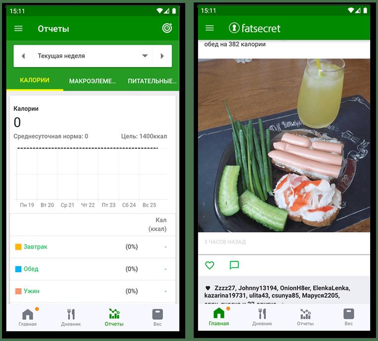 Статистика и микроблог в Fat Secret - приложении для подсчета калорий на Android