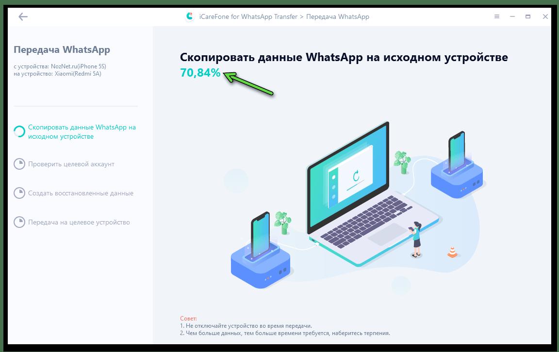 Tenorshare iCareFone for WhatsApp Transfer процесс вычитки данных мессенджера с iPhone-источника для их дальнейшего копирования на Android-смартфон