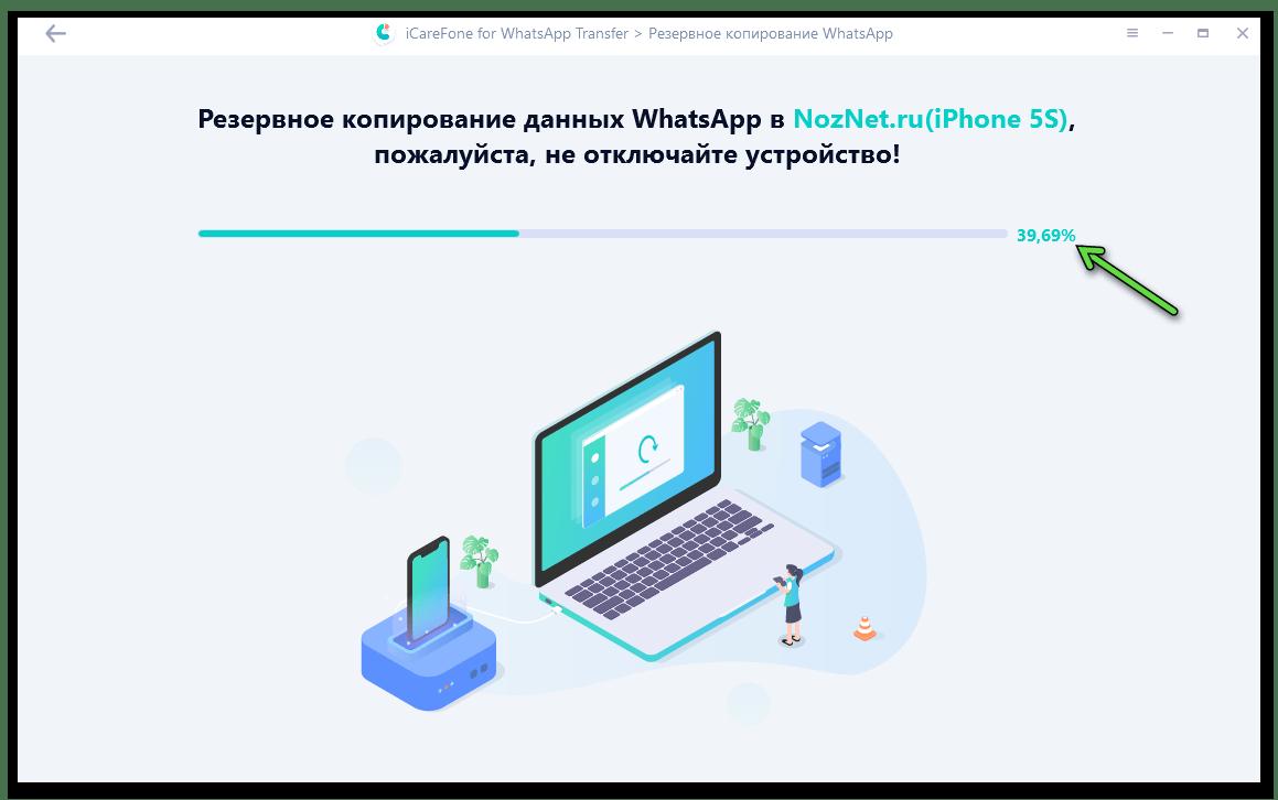 Tenorshare iCareFone for WhatsApp Transfer процесс вычитки информации из мессенджера на iPhone и сохранения данных в бэкапе на компьютере