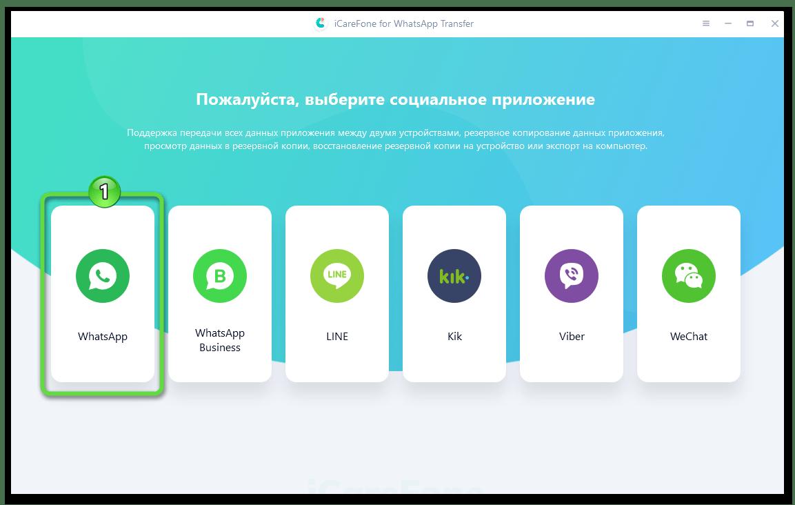 Tenorshare iCareFone for WhatsApp Transfer запуск программы для создания резервной копии чатов мессенджера на iPhone