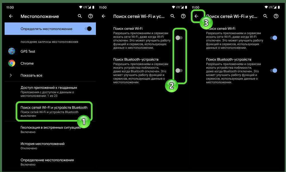 Android - включение функций поиска сетей Wi-Fi и устройств Bluetooth поблизости девайса для более точного определения его местоположения