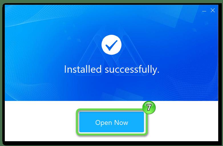 ApowerMirror инсталляция десктопного клиента программы для управления Android-смартфоном завершена, запуск средства