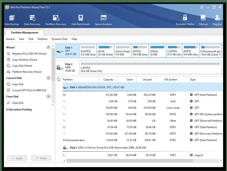 Форматирование разделов диска с помощью MiniTool Partition Wizard