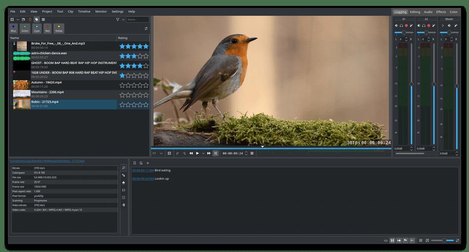 Главное окно программы для обрезки видео Kdenlive
