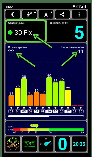 GPS Test для Android - статус 3D Fix - аппаратный модуль определения местоположения устройства работает нормально