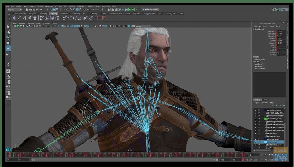 Привязка кистей для анимации в Autodesk Maya на компьютере