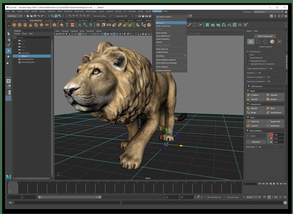 Редактирование модели для анимации в Autodesk Maya на компьютере