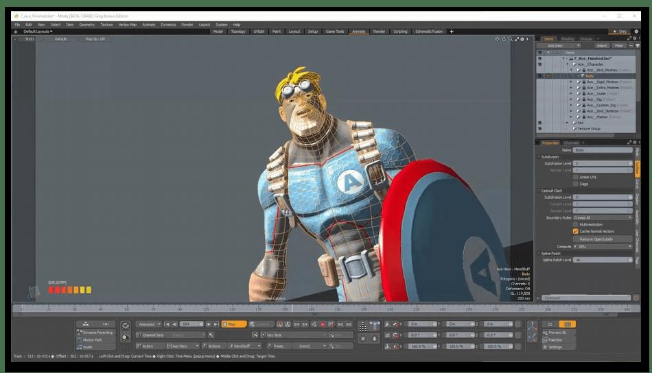 Редактирование модели в MODO для анимации на компьютере