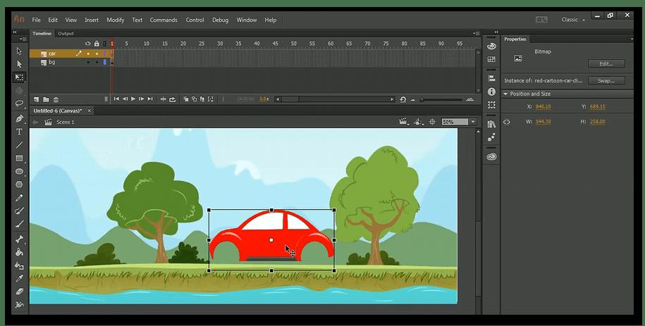 Редактирование сцены в Adobe Animate для анимации на компьютере