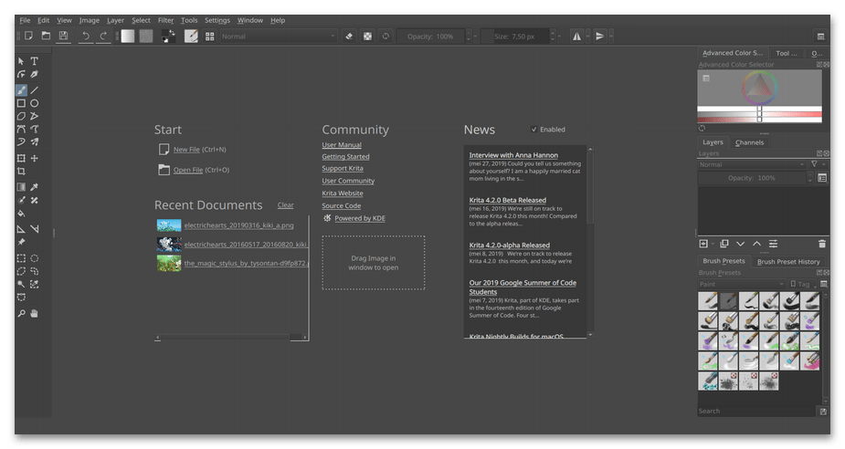 Создание нового проекта в программе для рисования на компьютере Krita