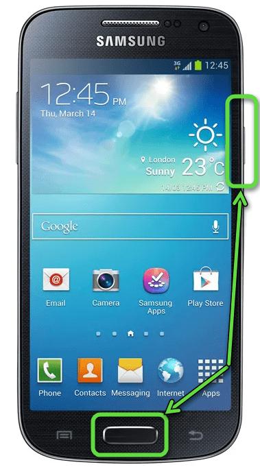 Создание скриншота на Samsung с клавишей Home