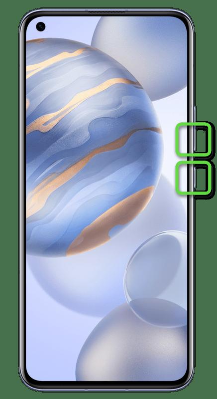 Создание скриншота на смартфонах Honor с Android при помощи физических кнопок