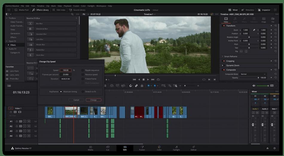 Главное окно программы для монтажа видео DaVinci Resolve