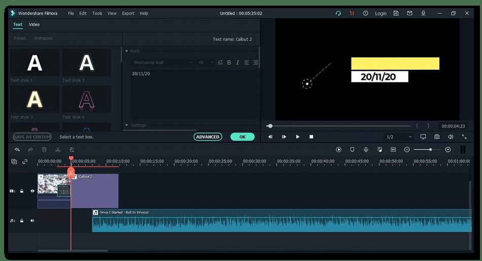 Главное окно программы для монтажа видео на компьютере Wondershare Filmora