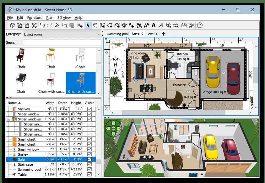 Главное окно программы Sweet Home 3D для дизайна интерьера