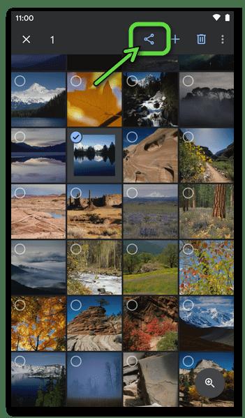 Google Фото для Android - кнопка Поделиться, которая становиться доступной после выделения фото в Библиотеке