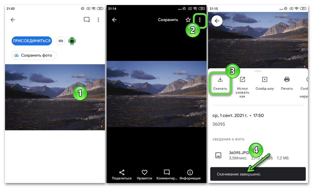 Google Фото для Android скачивание из сервиса полученного ссылкой изображения в память девайса