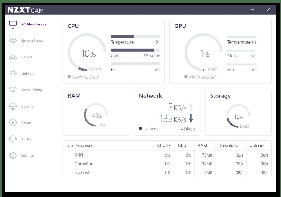 Использование программы NZXT CAM для мониторинга системы в играх