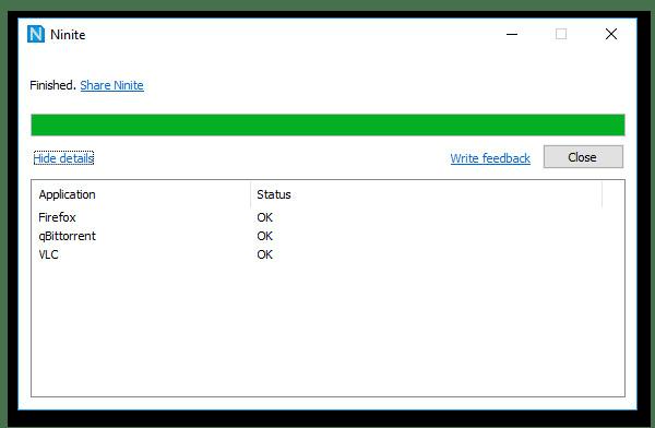 Окно установки других программ при использовании Ninite