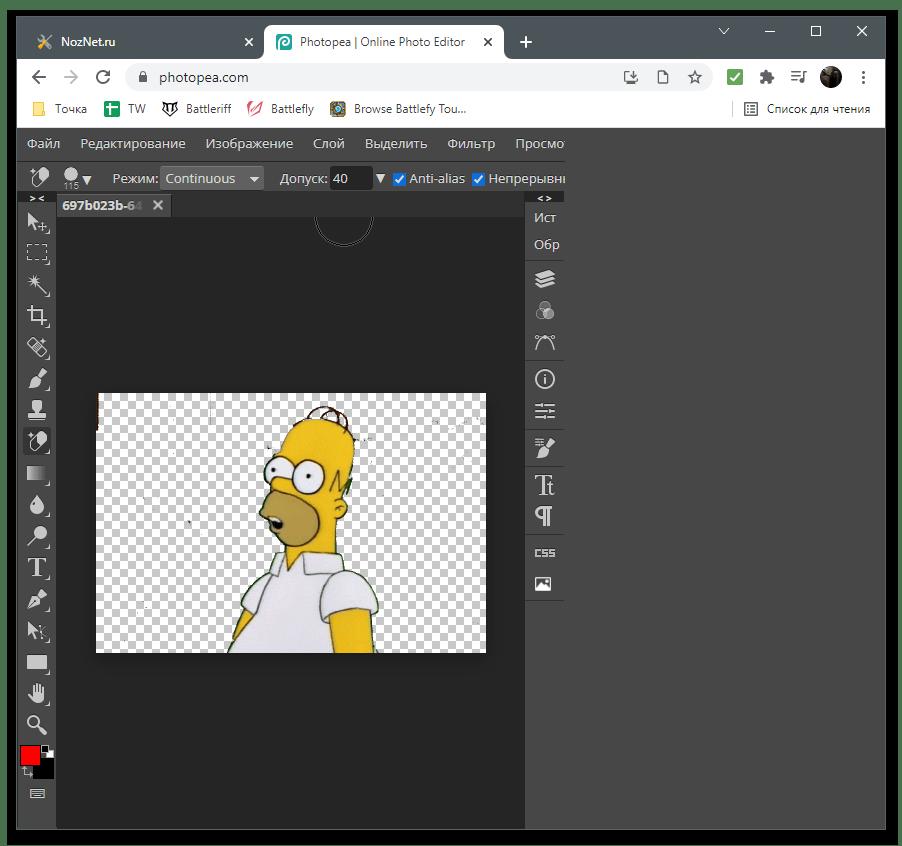 Результат редактирования для удаления фона на изображении через онлайн-сервис Photopea